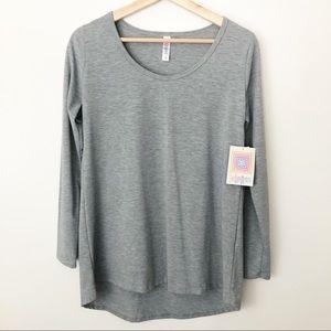 LuLaRoe Luanne Long Sleeve Top Gray Small NWT